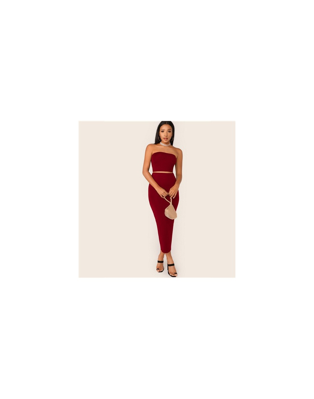 Solid Tube Crop Bandeau Top And Pencil Skirt Set Women Slim Fit Two Piece Set 2019 Summer Skinny Sexy 2 Piece Outfits - Blac...