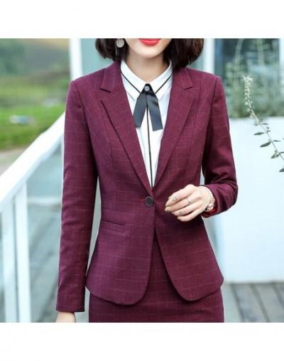 High quality Plaid blazer women 2018 new autumn winter formal Business slim long sleeve jacket office ladies plus size work ...