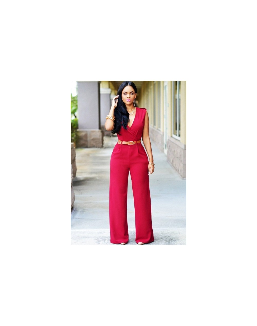 Deep V-neck High Waisted Monos Rompers With Sashes Solid Color Street Style Fashion Long Overalls Sexy Women's Jumpsuits S-2...