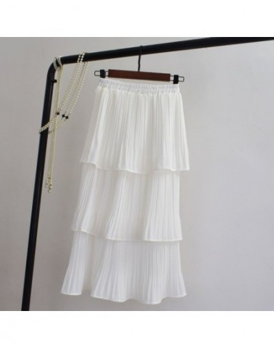 Spring Summer Fairy Solid White Black Cakee Layered Chiffon Skirt Sweet Ruffles Tiered Mid-calf Crepe Chiffon Pleated Long S...