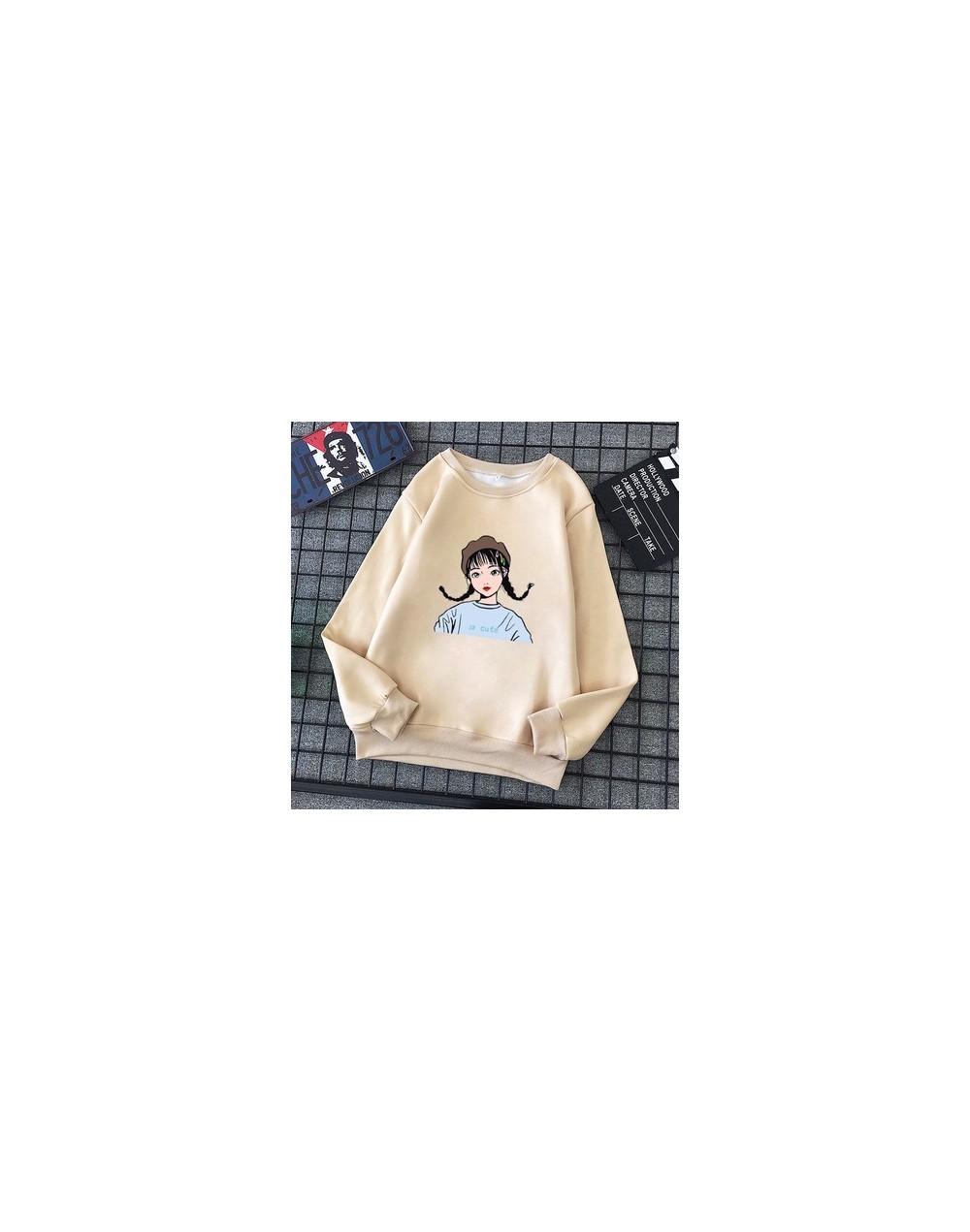 Hoodies Women Large Size All-match Plus Velvet Cartoon Printed Long Sleeve Womens Sweatshirts O-neck Leisure Ladies Pullover...