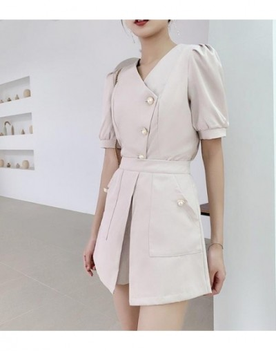 New Summer Puff Sleeve Office Lady Short Sets For Women Office Chic Two Piece Outfits Fashion 2 Pc Women Set White Outfit - ...