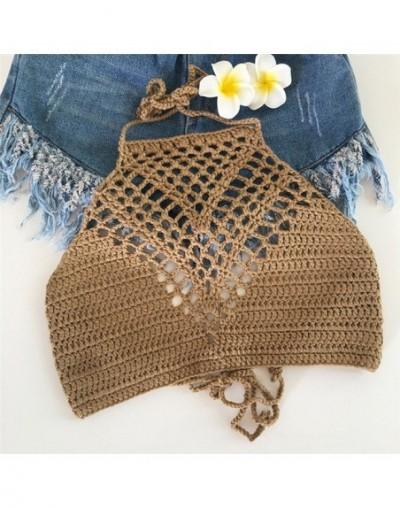 Handmade Crochet Bikini Top Bra Women Sexy Swimwear Tops Halter Knitted Swimsuit Bikinis Mujer Bathing Suit - khaki - 473007...