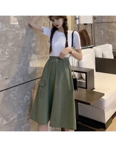 2019 Solid Color Skirts Womens Autumn Summer High Waist Cargo Skirt Plus Size Harajuku Ladies Midi Skirt jupe femme - armyGr...