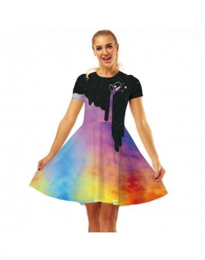 Women Dresses Summer 2019 Elegant Round neck Casual Loose Elastic High Waist vestidos Women color Space Galaxy printed Dress...