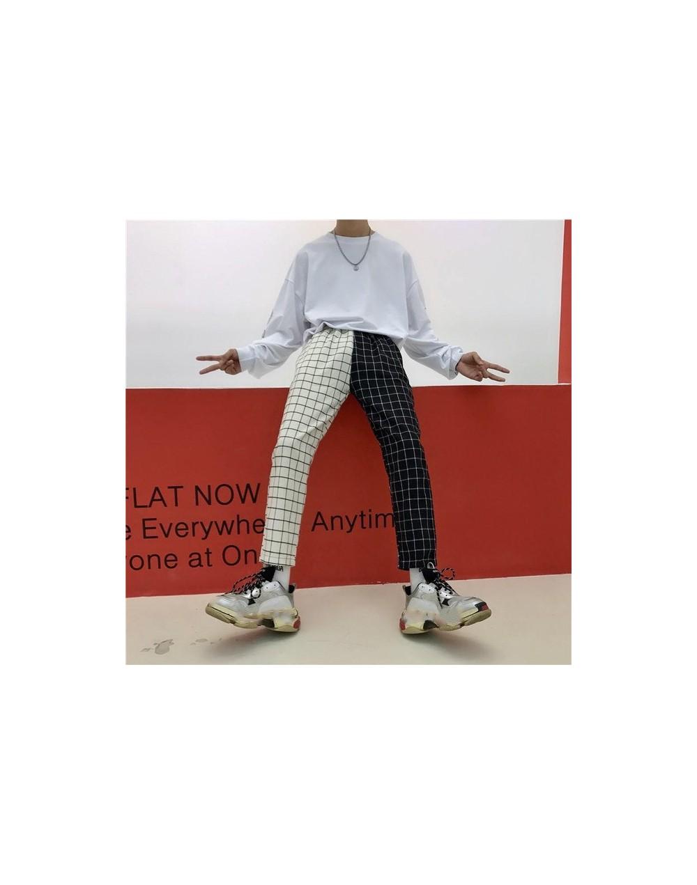 Vintage Paid Patchwork Pants Harajuku Woman Man Trousers Elastics High Waist Pants Korean Causal Straight Pants 37403 - whit...