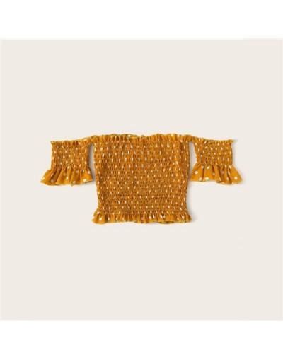 Ginger Polka Dot Shirred Off The Shoulder Blouse Women 2019 Summer Boho Short Sleeve Clothes Ladies Slim Fit Tops - Ginger -...