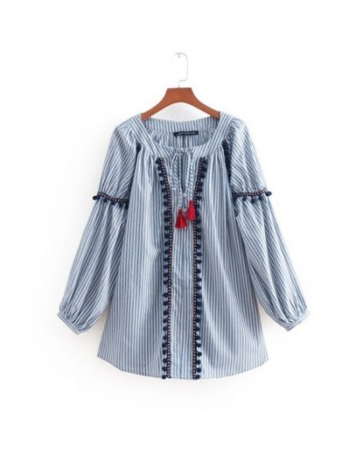 Arvinxia ZA Casual Striped Tassels Decorative Woman Blouse Outware Vintage Long Sleeve Beading Lady Shirts New Chic Lady Blu...