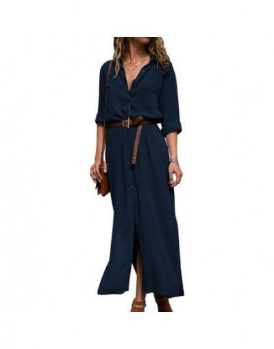 Women Casual Solid Shirt Dresses Loose Long Sleeve Office Style Shirt Dress Spring Ladies Dresses Vestidos Vintage Button Dr...