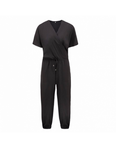 sexy V neck tied waist pocket rompers womens jumpsuit large size loose summer overalls jumpsuits short sleeve playsuit - Bla...
