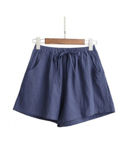 Hot Women High Waist Loose Solid Color Shorts Casual for Summer Sport Running Beach A66 - royal blue - 5R111182374776-5