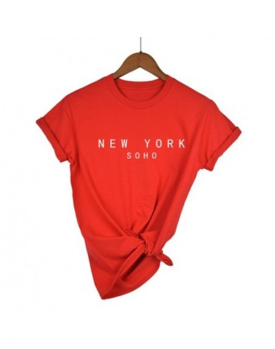 New York Soho Letter Women tshirts Cotton Casual Funny T Shirt For Lady Top Tee Hipster Black White Gray Drop Ship - Red-W -...