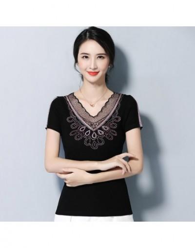 Women T-Shirt Casual short sleeve summer tops Elegant Slim Embroidered Hollow out Back t shirt 4XL Plus size shirt women top...