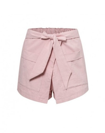 Pink Bottoms Summer 2019 Chic Casual Women Shorts Wrap High Fashion New Trend Girls Pocket Bow Shorts - Pink - 4K4118459919