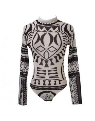 Womens Totem print Bodysuits Long Sleeve Romper Bodysuit Stretch Leotard Tops Slim Trouser Femme New - Black - 423060498705-1