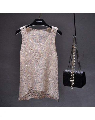 2017 Summer sexy hollow out knitted tank tops women shiny gold Silver sequined tank tops women bling bling shiny knited vest...