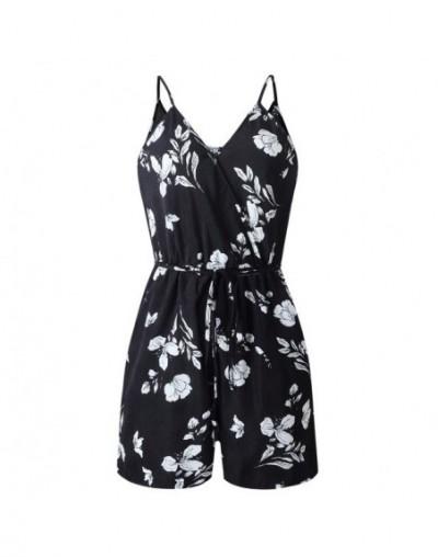 Women Sexy V-Neck Short Jumpsuit Floral Print Off Shoulder Bodysuit Overalls Strap Bohemian Vintage Playsuit Summer Romper 2...