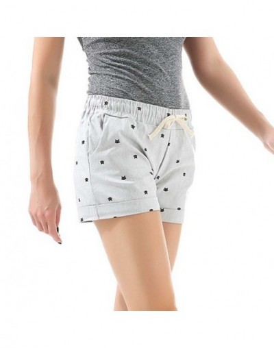 2018 New Cotton Women's Casual Shorts home-style cat's head candy-colored Shorts - Gray - 413962994679-4