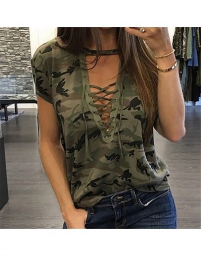 2018 Summer Fashion Women's Camo T Shirt New Stylish Laides Loose Short Sleeve Tops Women Camouflage Casual Bandage Tops T-S...