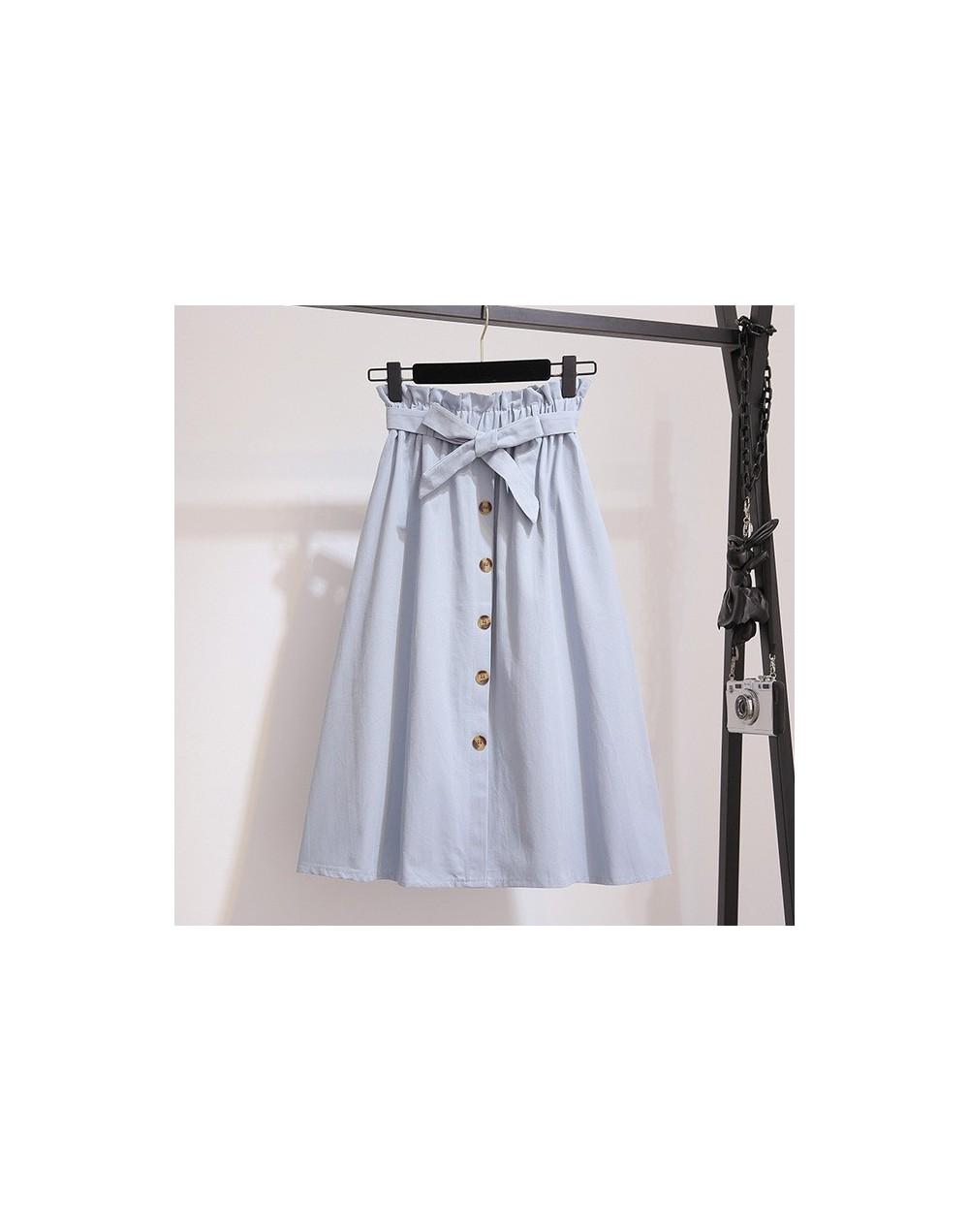 Women Skirts Fashion 2019 High Waist Skirt Women Spring Summer Midi Skirts Womens Elastic Waist A Line Ladies Skirts With Be...