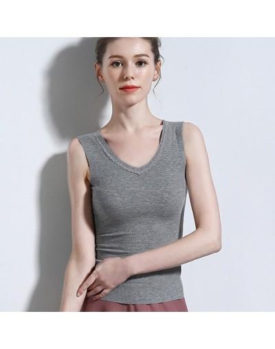 White Lace Tank Top Vest Women V Neck Cotton Basic Solid Summer Tops For Women 2019 Sleeveless Female Femme Tops - Gray - 43...