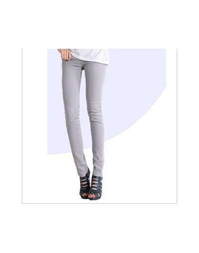 Women's Pencil Jeans Plus Size 32 Candy Pants 2019 Trousers Mid Waist Full Length Zipper Stretch Skinny Pants WKP348 - gray ...