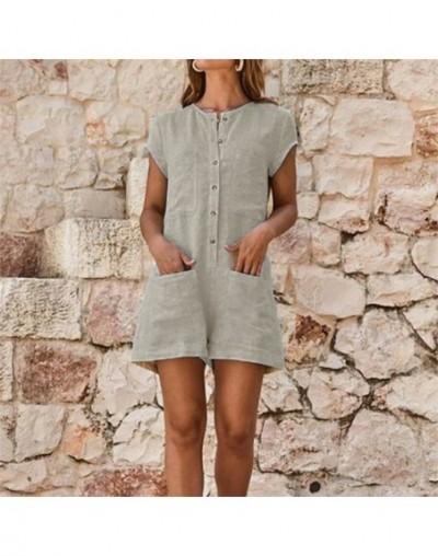 Fashion Women's Clubwear Holiday Summer Mini Playsuit Button Pocket Solid Romper Beach Shorts S-5XL Plus Size - B - 33036081190