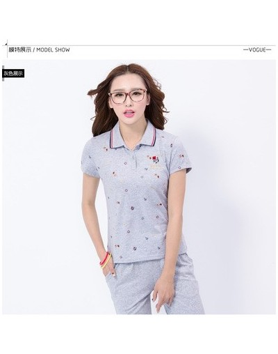 2019 Summer Polos The Woman Casual Short Sleeve Slim Polos Shirts Tops Camisas Mujer Cotton Polos Shirt Hot Sale L0519 - gra...