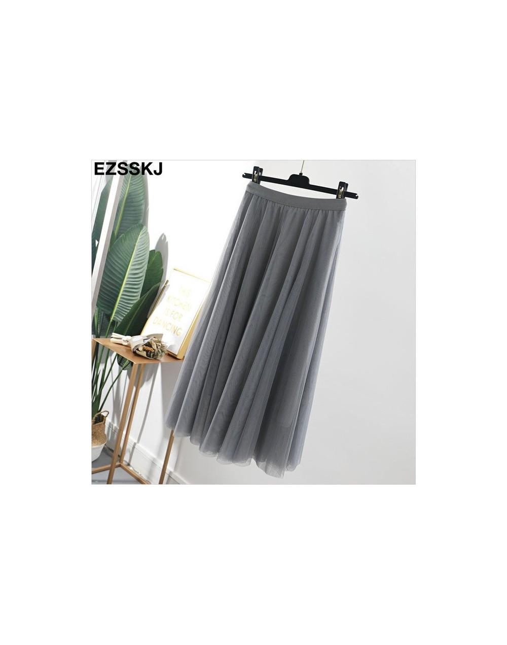 2019 high quality spring Summer Tulle Skirt Women pleated tutu skirt A-line mesh midi Skirt female long elegant voile skirt ...