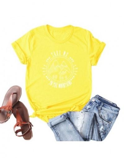 Fashion Women Cotton T-shirt Short Sleeve O Neck Mountains Slogan Letter Print Plus Size Cool Tee Shirt Femme Casual Top - Y...