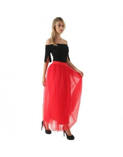 4 Layers 100cm Floor length Skirts for Women Elegant High Waist Pleated Tulle Skirt Bridesmaid Ball Gown Bridesmaid Clothing...