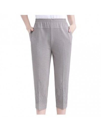 Middle-aged Women Straight Pants Fashion Casual Elastic waist Loose Pants Large size Grandma Female Summer Solid Nine pants ...