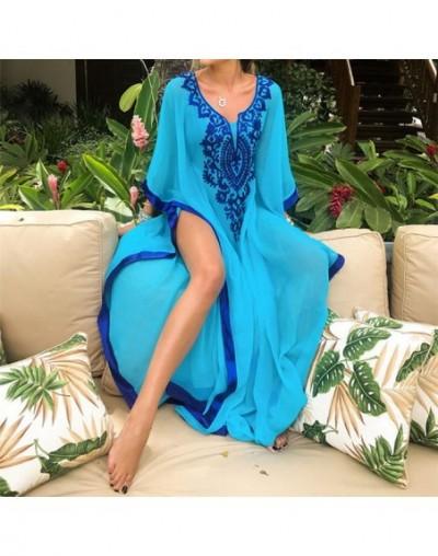 2019 Bohemian Embroider Summer Beach Dress Chiffon Tunic Women Plus Size Beachwear Kaftan Sexy Half Sleeve Maxi Dress Robe N...