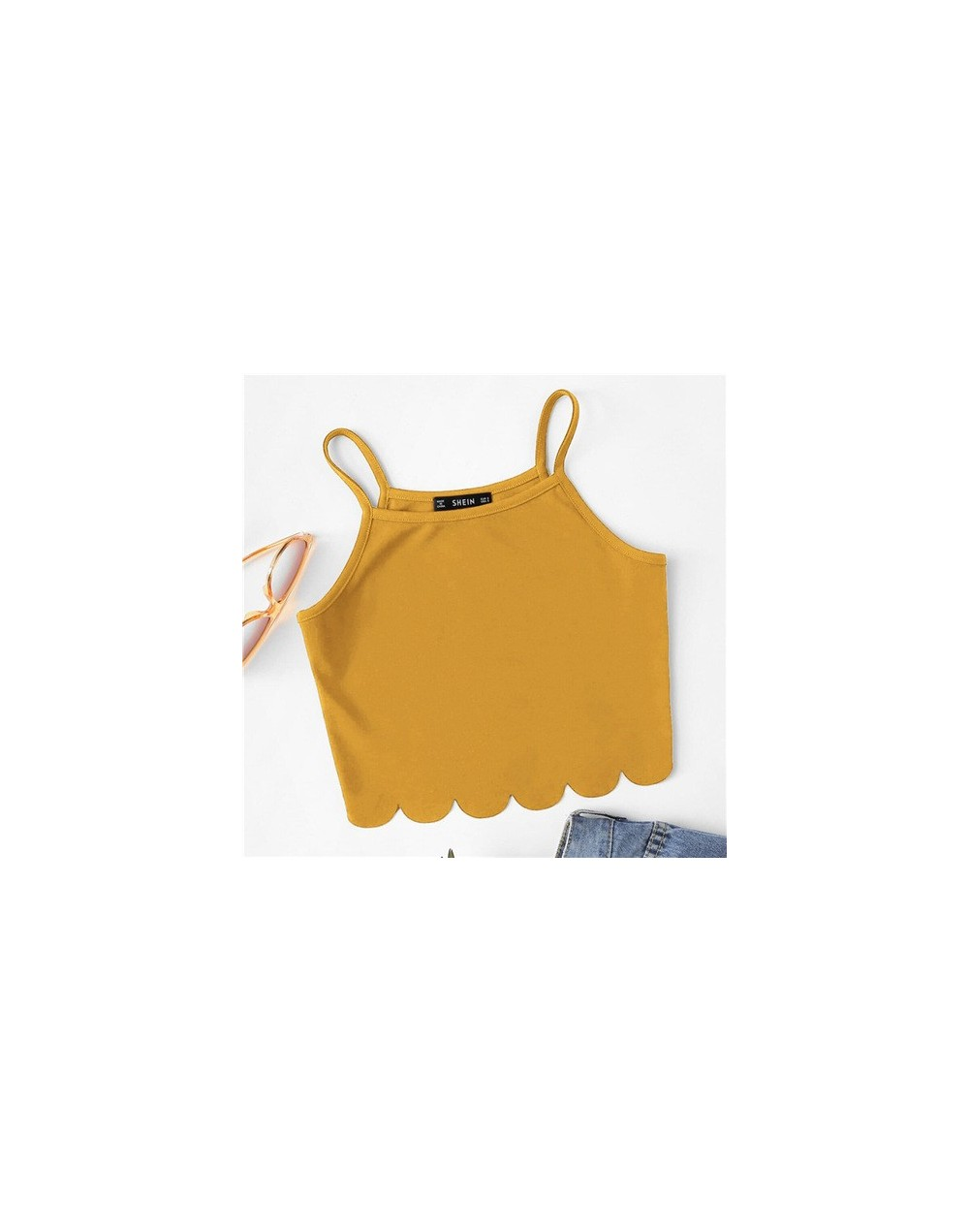 Summer Red Tank Crop Top Vest Woman Vacation Casual Scallop Hem Crop Spaghetti Strap Slim Cami Top - Ginger - 4P3961056803-2