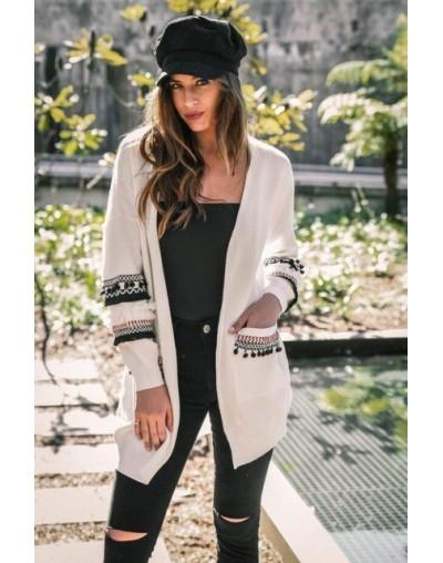 Women Ruffles Long Cardigan Lady Fashion TOPS Pockets Sweater Coat - White - 454110497431-5