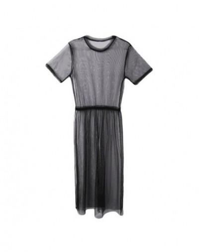 Fashion Brand Mesh Women Long Dresses Cover Up Female Casual O-Neck Transparent Mesh See Through Nightclub Vestidos S-XXL - ...