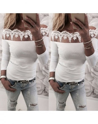 Women Lace Tops Pierced Long Sleeve Off Shoulder Pullover Slim Tops T-Shirt Solid Slash Neck Tee Clothing - White - 4F302931...