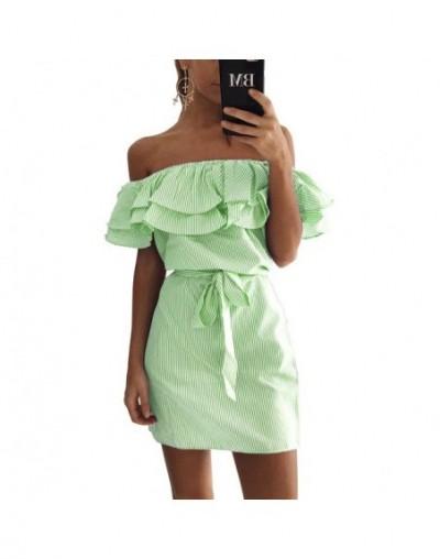 2019 Off Shoulder Strapless Striped Ruffles Dress Women Sexy Summer Sundresses Slim Beach Casual Shirt Short Mini Party Dres...