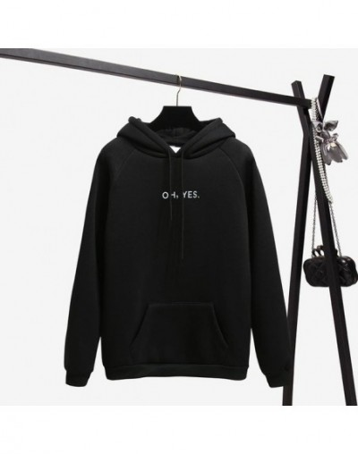 Autumn Winter Fleece Oh Yes Letter Harajuku Print Pullover Thick Loose Women Hoodies Sweatshirt Female Clothes Pink Casual C...