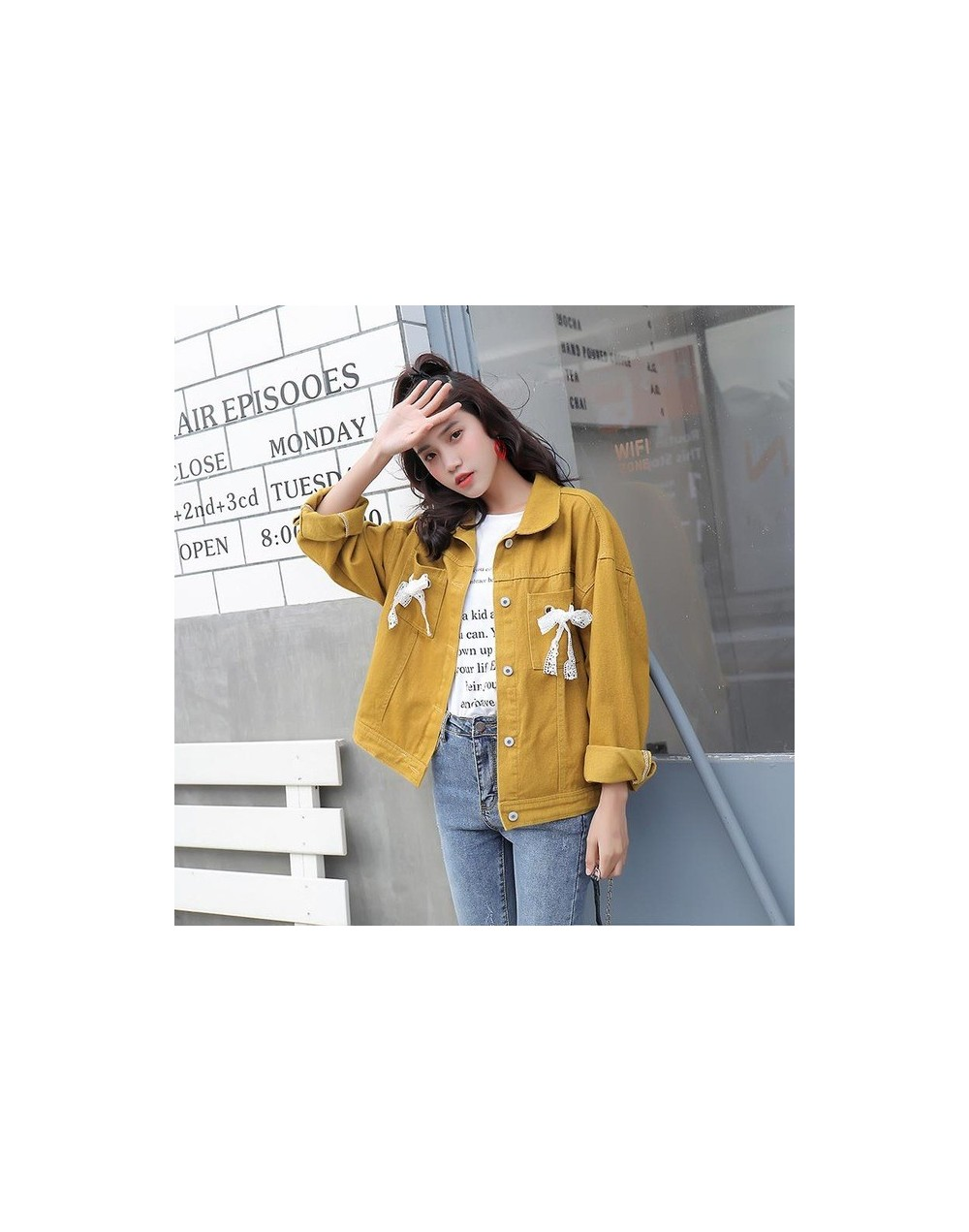 Spring Women Denim Jacket Single Breasted Coats Casual Loose Female Cute Lace Bow Tie Up Decorate Turndown Collar Jakcet - Y...
