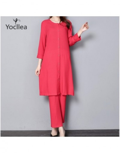 New 5XL 2pcs Women Two Piece set vintage Solid color Casual O-neck Three Quarter long Tops+Ankle-Length Pants suit NY456 - 4...