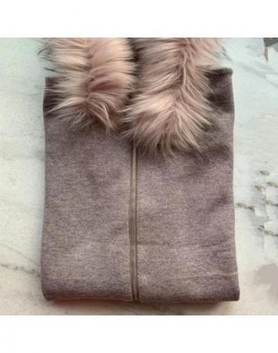 New 2019 Autumn Winter Women Knitted Tracksuit Fur Collar Zipper Hooded Coats+Elastic Casual Pants 2 Pieces Set Women Knit S...