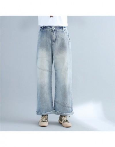 2019 New Spring Autumn Women jeans loose Wide leg Pants Vintage Elastic Denim Pants Trousers - blue - 4V3960046692