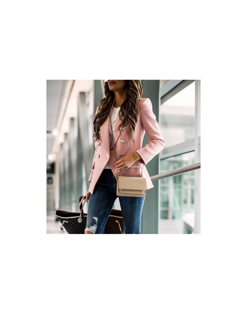 Women Autumn Winter Blazers Long Sleeve Classic Office Small Coats Ladies Double Breasted Pink Clothing Work Suit Jackets - ...