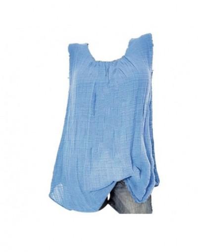 2018 New Summer Ladies Blusas Solid Sleeveless O-Neck Linen Polyester Women's Tops Blouses Women Clothing Feminine Blouse LJ...