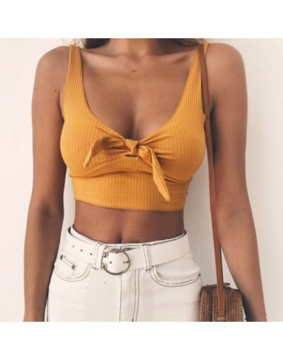 Summer Ribbed Bow Tie Camisole Tank Tops Basic Crop Top Streetwear Fashion Cool Girls Cropped Tees Camis - Y - 5Q111217539572-5