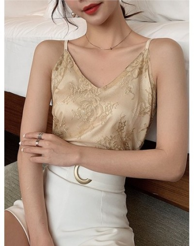 Women Clothes 2019 summer tops new Silk camisole female thin silk lace v neck backless top top sexy fashion top Camisole Fem...