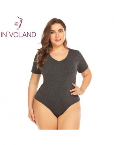 Plus Size Bodysuits Women Short Sleeve Female Overall Summer Jumpsuit Sexy Cotton oversize Body Suit - Gray - 4X3996182907-2