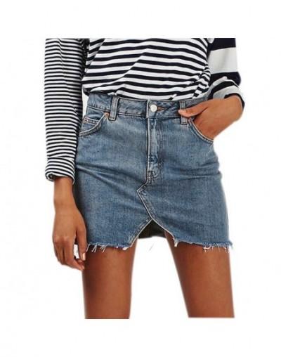 2019 New Summer Solid Color Denim Empire Skirt Women High Waist Casual A-Line Denim Distressed Bodycon Short Jean Skirt - Ho...