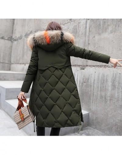 Female Jackets Parka Clothing Women Down Jacket Lady Big fur collar Jacket Korean Thick Plus size Winter Warm Coats X376 - A...